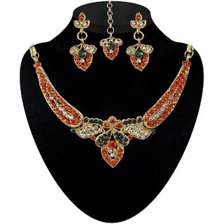 Kriaa by JewelMaze Zinc Alloy Gold Plated Orange  Green Austrian Stone Necklace Set With Maang tikka-AAA0543