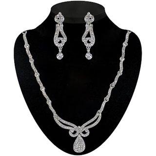 Kriaa by JewelMaze Zinc Alloy Silver Plated White Austrian Stone Necklace Set-AAA0544
