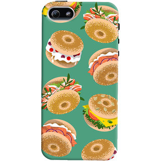 Oyehoye Burger For Foodies Pattern Style Printed Designer Back Cover For Apple iPhone 5S Mobile Phone - Matte Finish Hard Plastic Slim Case