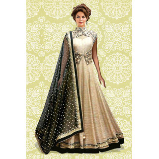 1 Stop Fashion Cream Embroidered Silk Anarkali Suit Material