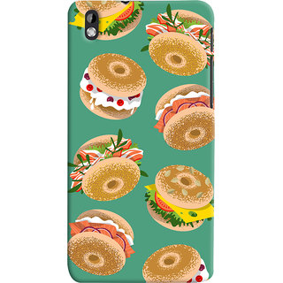 Oyehoye Burger For Foodies Pattern Style Printed Designer Back Cover For HTC Desire 816 Mobile Phone - Matte Finish Hard Plastic Slim Case