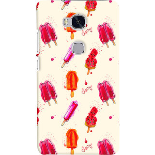 Oyehoye Ice Cream Pattern Style Printed Designer Back Cover For Huawei Honor 5X / Dual Sim Mobile Phone - Matte Finish Hard Plastic Slim Case