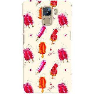 Oyehoye Ice Cream Pattern Style Printed Designer Back Cover For Huawei Honor 7 / Dual Sim / Enhanced Edition Mobile Phone - Matte Finish Hard Plastic Slim Case