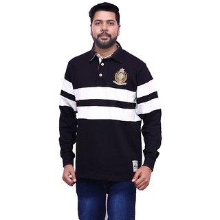 FILA Men's Black & White Polo Neck T-Shirt