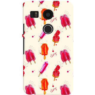Oyehoye Ice Cream Pattern Style Printed Designer Back Cover For LG Google Nexus 5X Mobile Phone - Matte Finish Hard Plastic Slim Case