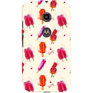 Oyehoye Ice Cream Pattern Style Printed Designer Back Cover For Motorola Moto E2 Mobile Phone - Matte Finish Hard Plastic Slim Case