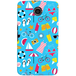 Oyehoye Beach Pattern Style Printed Designer Back Cover For Motorola Google Nexus 6 Mobile Phone - Matte Finish Hard Plastic Slim Case