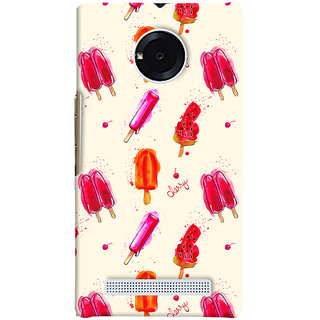 Oyehoye Ice Cream Pattern Style Printed Designer Back Cover For Micromax Yuphoria Mobile Phone - Matte Finish Hard Plastic Slim Case