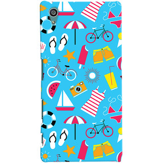 Oyehoye Beach Pattern Style Printed Designer Back Cover For Sony Xperia Z5 Mobile Phone - Matte Finish Hard Plastic Slim Case