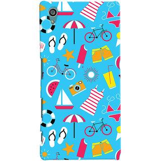 Oyehoye Beach Pattern Style Printed Designer Back Cover For Sony Xperia Z5 Mobile Phone - Matte Finish Hard Plastic Slim Case