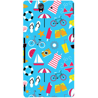Oyehoye Beach Pattern Style Printed Designer Back Cover For Sony Xperia Z Mobile Phone - Matte Finish Hard Plastic Slim Case