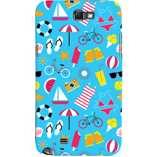 Oyehoye Beach Pattern Style Printed Designer Back Cover For Samsung Galaxy Note 2 Mobile Phone - Matte Finish Hard Plastic Slim Case