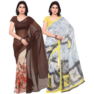 Surat Tex Brown  White Colored Corsa Georgette  Heavy Georgette Printed Casual Wear Combo Of 2 Saree -ST2SE069
