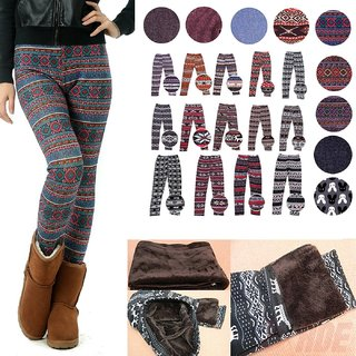 Women's Print New Winter Thick Warm Fleece Lined Stretchy Leggings Pants Warm Assorted Prints