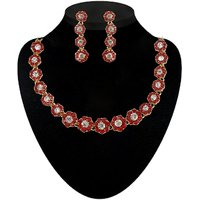Kriaa by JewelMaze Zinc Alloy Gold Plated Red Austrian Stone Necklace Set-AAA0555