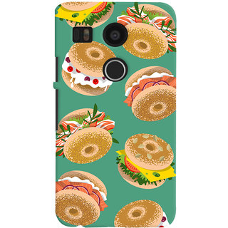 Oyehoye Burger For Foodies Pattern Style Printed Designer Back Cover For LG Google Nexus 5X Mobile Phone - Matte Finish Hard Plastic Slim Case