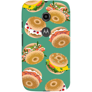 Oyehoye Burger For Foodies Pattern Style Printed Designer Back Cover For Motorola Moto E2 Mobile Phone - Matte Finish Hard Plastic Slim Case