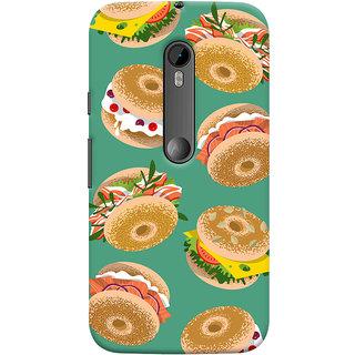 Oyehoye Burger For Foodies Pattern Style Printed Designer Back Cover For Motorola Moto G3 Mobile Phone - Matte Finish Hard Plastic Slim Case