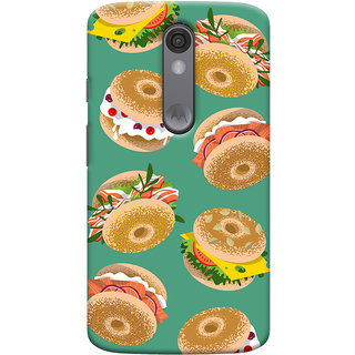 Oyehoye Burger For Foodies Pattern Style Printed Designer Back Cover For Motorola Moto X Force Mobile Phone - Matte Finish Hard Plastic Slim Case