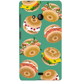 Oyehoye Burger For Foodies Pattern Style Printed Designer Back Cover For Microsoft Lumia 540 Mobile Phone - Matte Finish Hard Plastic Slim Case