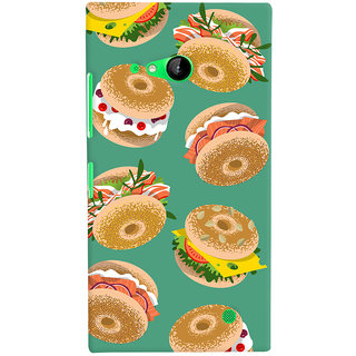 Oyehoye Burger For Foodies Pattern Style Printed Designer Back Cover For Microsoft Lumia 730 / Dual Sim Mobile Phone - Matte Finish Hard Plastic Slim Case