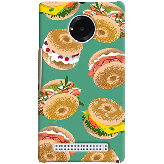 Oyehoye Burger For Foodies Pattern Style Printed Designer Back Cover For Micromax Yuphoria Mobile Phone - Matte Finish Hard Plastic Slim Case