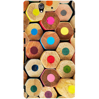 Oyehoye Colourful Pattern Style Printed Designer Back Cover For Sony Xperia Z Mobile Phone - Matte Finish Hard Plastic Slim Case