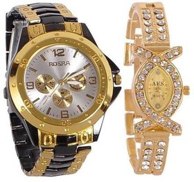 TRUE COLORS Silver and Gold Dial Analogue Watches for Couple Pack of -2