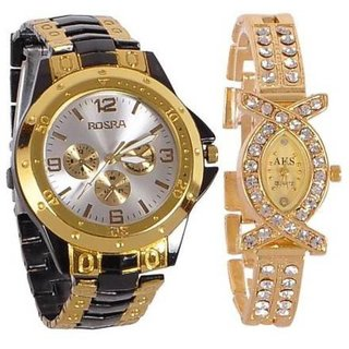 TRUE COLORS Gold Quartz Couple Watch