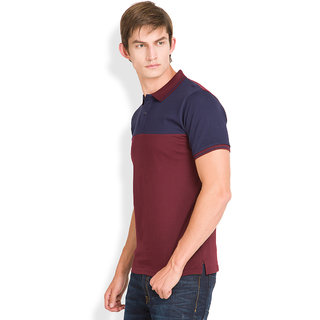 Highlander Red Polo Neck Half Sleeve Tshirt For Men