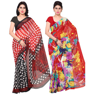 Surat Tex Red  Red Colored Corsa Georgette  Dani Georgette Printed Casual Wear Combo Of 2 Saree -ST2SE081