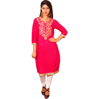 Vasavi Pink Embroidered Cotton Stitched  Kurti