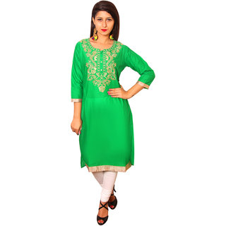 Vasavi Green Embroidered Cotton Stitched  Kurti