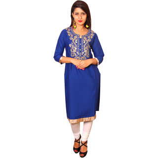 Vasavi Blue Embroidered Cotton Stitched  Kurti