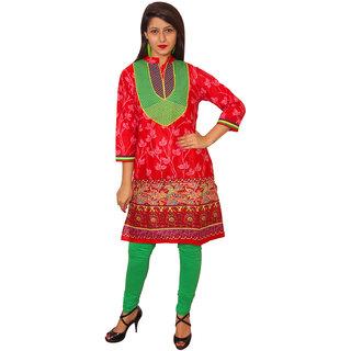 Vasavi Red Embroidered Cotton Stitched  Kurti