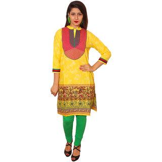 Vasavi Yellow Embroidered Cotton Stitched  Kurti