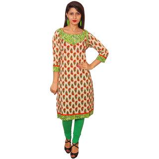 Vasavi Green Printed Cotton Stitched  Kurti