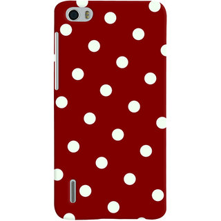 Oyehoye Red And White Polka Dots Pattern Style Printed Designer Back Cover For Huawei Honor 6 / Dual Sim Mobile Phone - Matte Finish Hard Plastic Slim Case