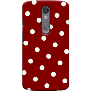 Oyehoye Red And White Polka Dots Pattern Style Printed Designer Back Cover For Motorola Moto X Force Mobile Phone - Matte Finish Hard Plastic Slim Case