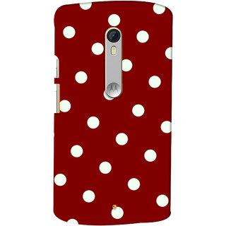 Oyehoye Red And White Polka Dots Pattern Style Printed Designer Back Cover For Motorola Moto X Style Mobile Phone - Matte Finish Hard Plastic Slim Case