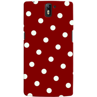 Oyehoye Red And White Polka Dots Pattern Style Printed Designer Back Cover For OnePlus One Mobile Phone - Matte Finish Hard Plastic Slim Case