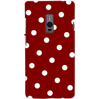 Oyehoye Red And White Polka Dots Pattern Style Printed Designer Back Cover For OnePlus 2 Mobile Phone - Matte Finish Hard Plastic Slim Case