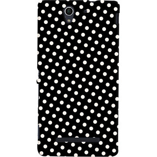 Oyehoye Black and White Polka Dots Pattern Style Printed Designer Back Cover For Sony Xperia C3 / Dual Sim Mobile Phone - Matte Finish Hard Plastic Slim Case