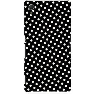 Oyehoye Black and White Polka Dots Pattern Style Printed Designer Back Cover For Sony Xperia Z4 Mobile Phone - Matte Finish Hard Plastic Slim Case
