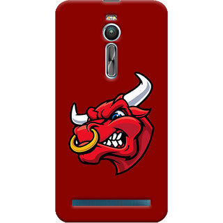 Oyehoye Asus Zenfone 2 ZE550ML Mobile Phone Back Cover With Raging Bull - Durable Matte Finish Hard Plastic Slim Case