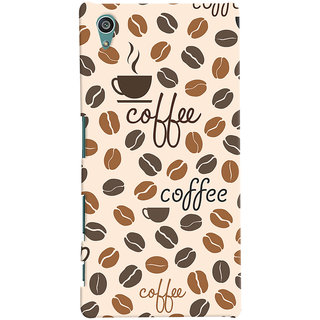 Oyehoye Coffee Beans Pattern Style Printed Designer Back Cover For Sony Xperia Z5 Mobile Phone - Matte Finish Hard Plastic Slim Case