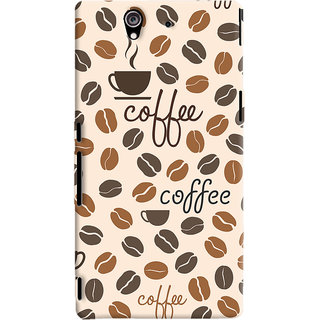 Oyehoye Coffee Beans Pattern Style Printed Designer Back Cover For Sony Xperia Z Mobile Phone - Matte Finish Hard Plastic Slim Case
