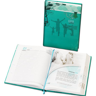 WORLDSTAR 2017 Good Life Themed Diary, Hardbound 364 pages, Coral Green Color