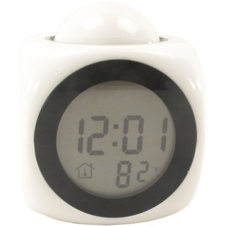 White Talking Laser Projector Alarm Table Clock Thermometer - 06