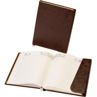WORLDSTAR 2017 Dark Brown Leather finish Diary with Designer Flap, Bookmark String, Hardbound 364 pages